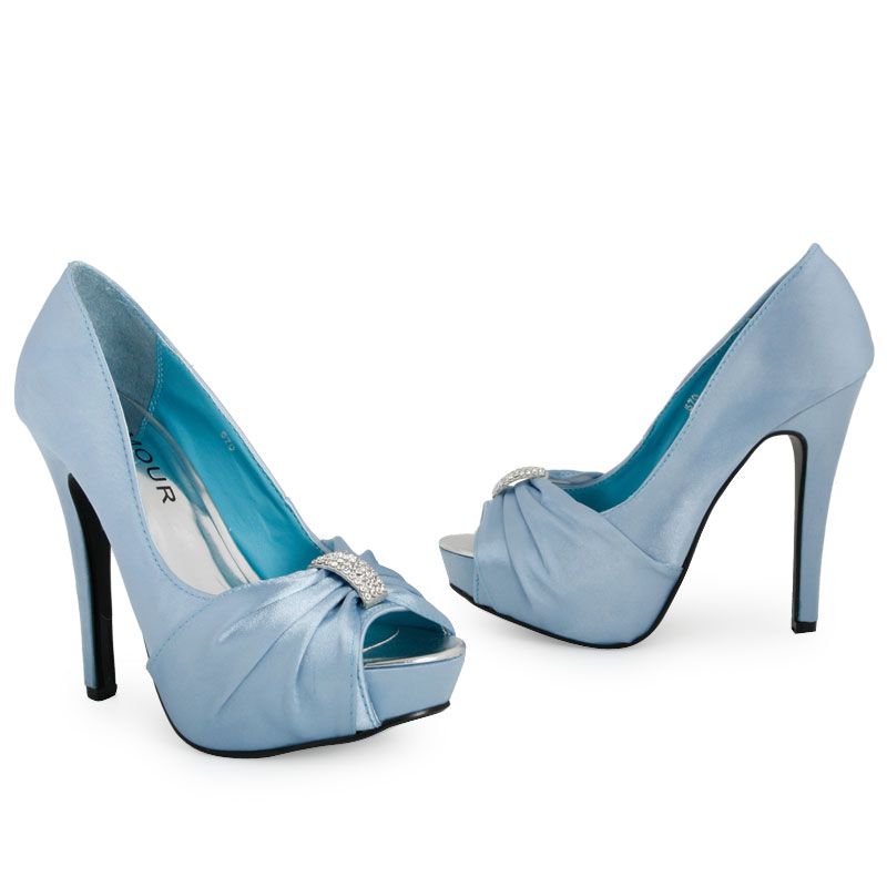 ladies light blue bridal platform heeled womens diamante