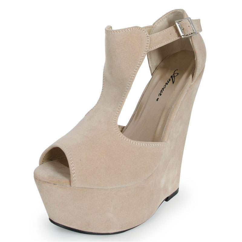 LADIES NUDE FAUX SUEDE WEDGE HEELS WOMENS FORMAL PLATFORM HEEL