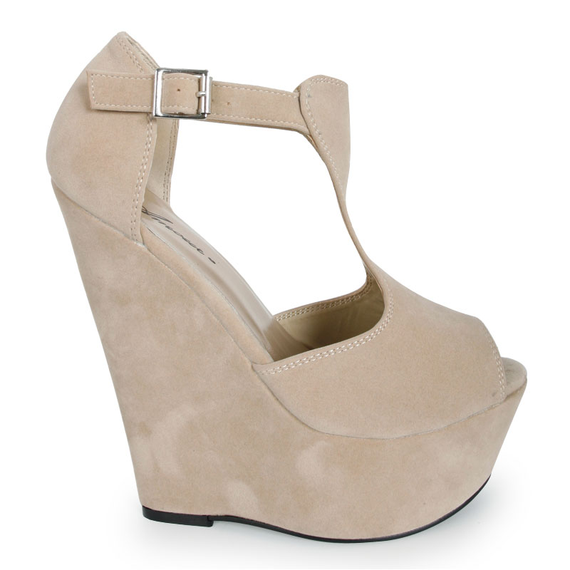LADIES NUDE FAUX SUEDE WEDGE HEELS WOMENS FORMAL PLATFORM HEEL ...