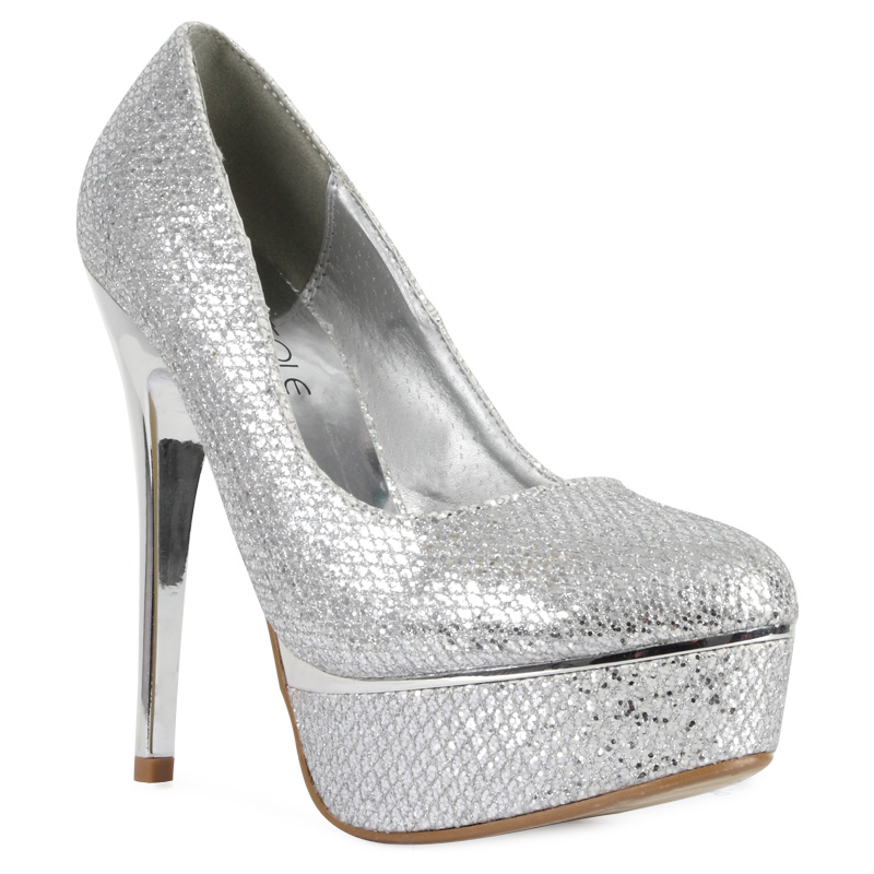 new glittery platform silver womens metallic high