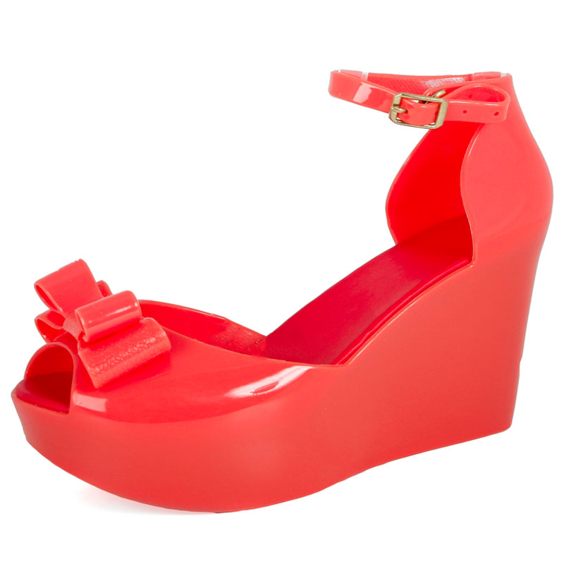 coral high heel peep toe jelly womens strappy