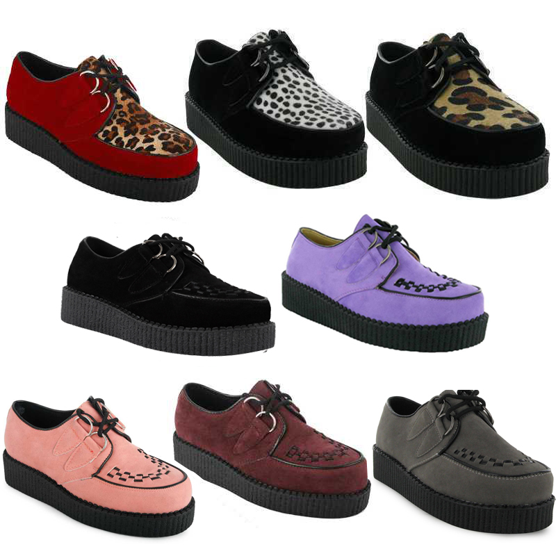 33R NEW WOMENS PLATFORM LACE UP LADIES FLAT CREEPERS GOTH PUNK SHOES SIZE 3-8 UK