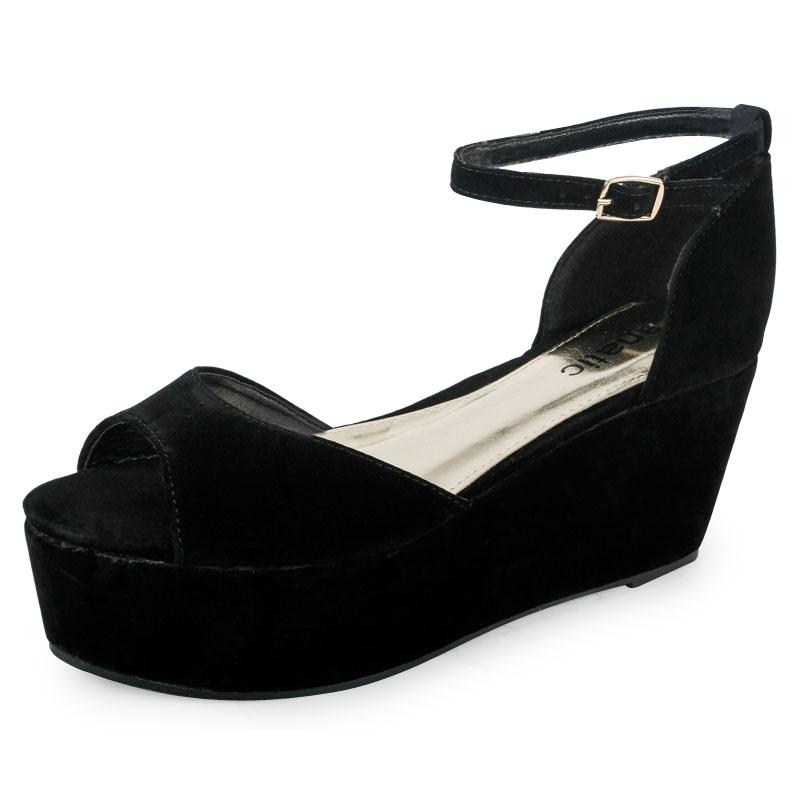 ladie black low wedge platform heel womens peep toe
