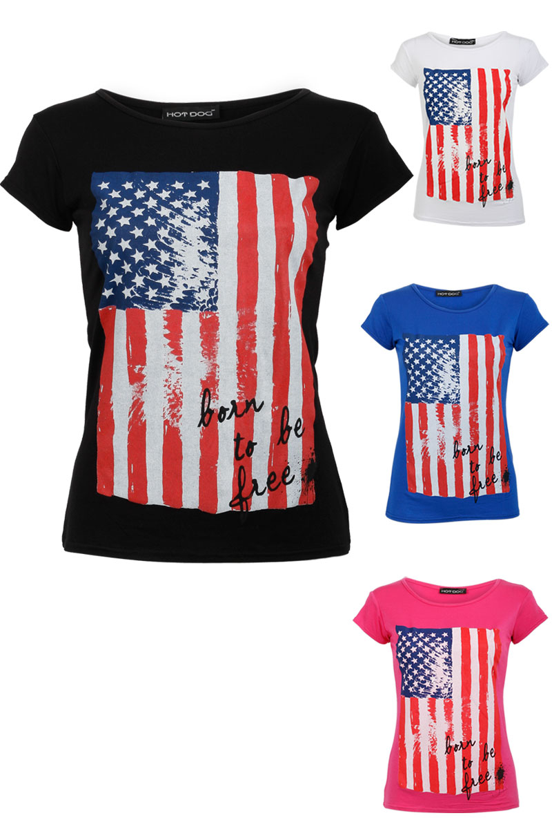 NEW LADIES AMERICAN FLAG PRINT TOP WOMENS SHORT SLEEVED CASUAL T-SHIRT SIZE 8-14 Enlarged Preview
