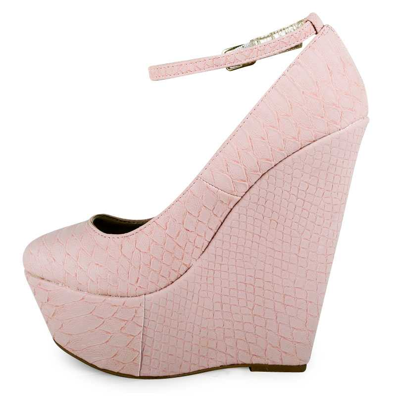 LADIES SALMON PINK PLATFORM CROC PRINT WEDGE WOMENS STRAPPY PARTY SHOES SIZE 3-8