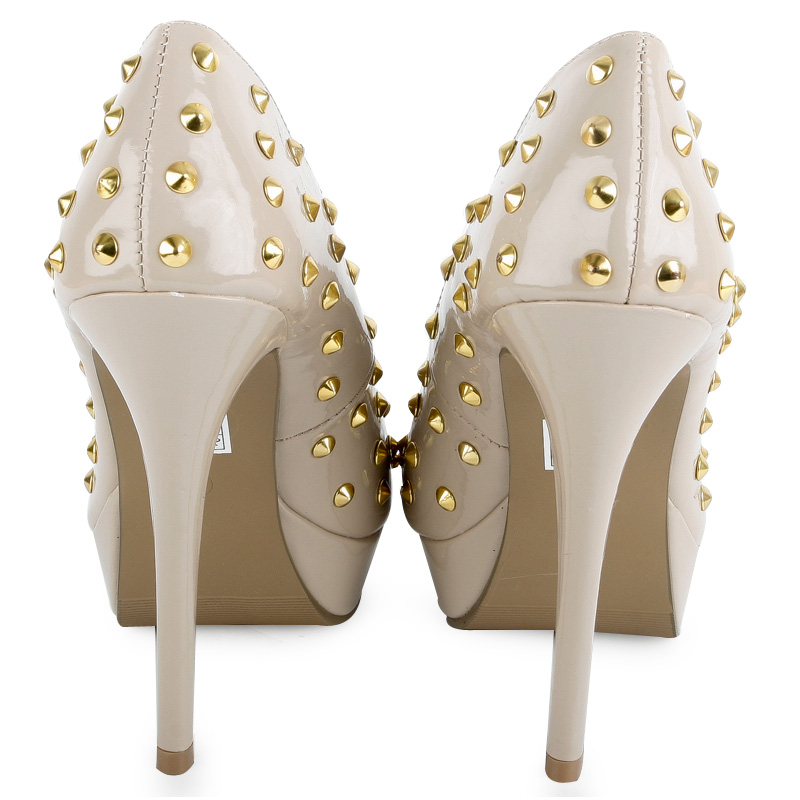 damen plateau schuhe 38k goldene nieten peep toe high heels pumps gr e 36 41 ebay. Black Bedroom Furniture Sets. Home Design Ideas