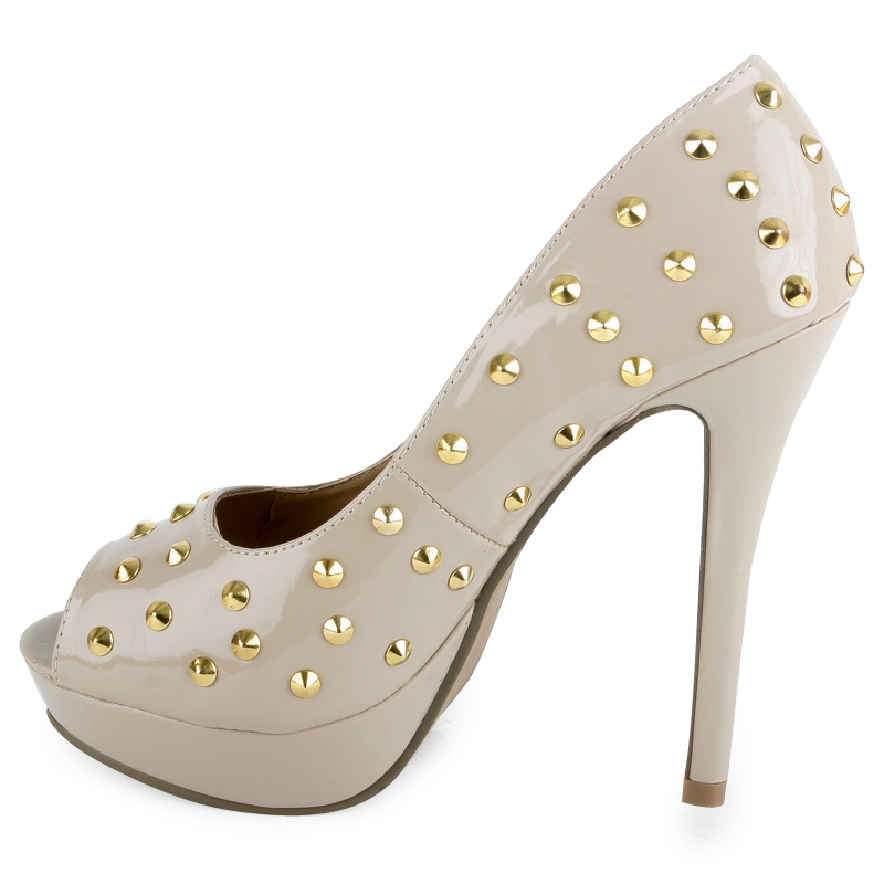 WOMENS NUDE SLIP ON STILETTO LADIES GOLD STUDS PLATFORM PEEP TOE SHOES SIZE 3-8