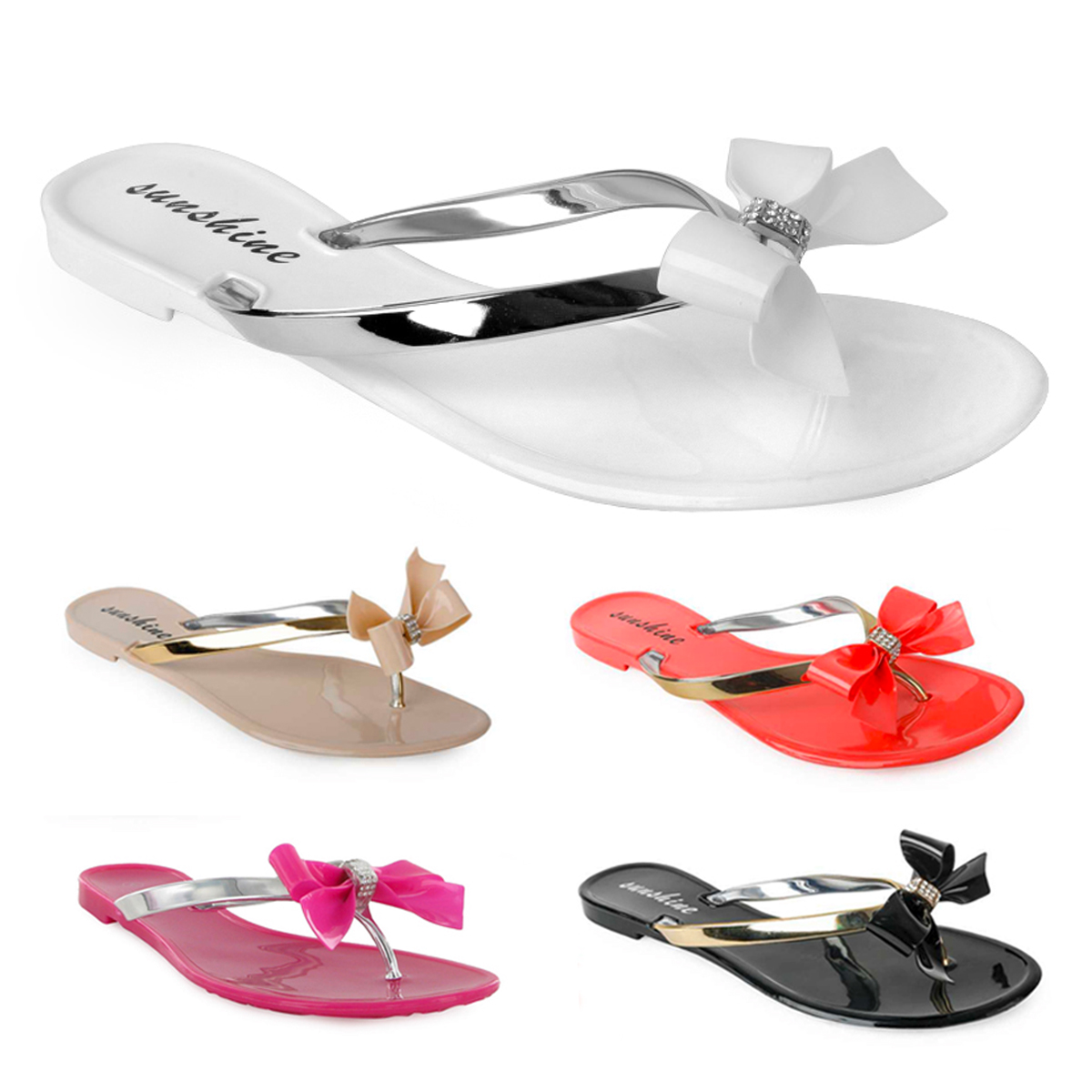 9a6e36b85b718 METALLIC LADIES DIAMANTE BOW FLIP FLOP SANDALS SHOES SIZE 3-8