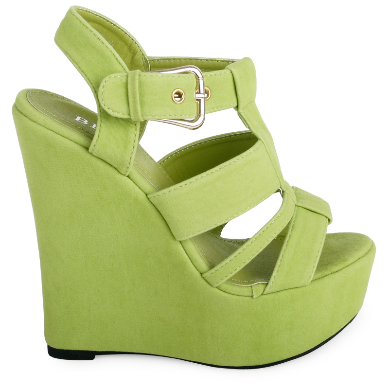 NEW WOMENS LIME GREEN BUCKLE FASTENING LADIES FAUX SUEDE WEDGE SHOES SIZE 3-8