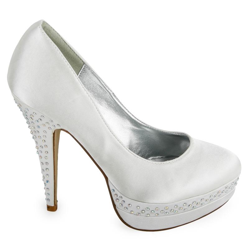 ivory diamante bridal satin womens formal high heel