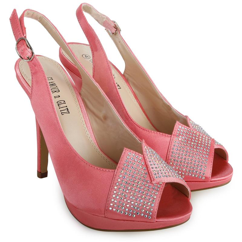 coral satin high heel diamante buckle womens
