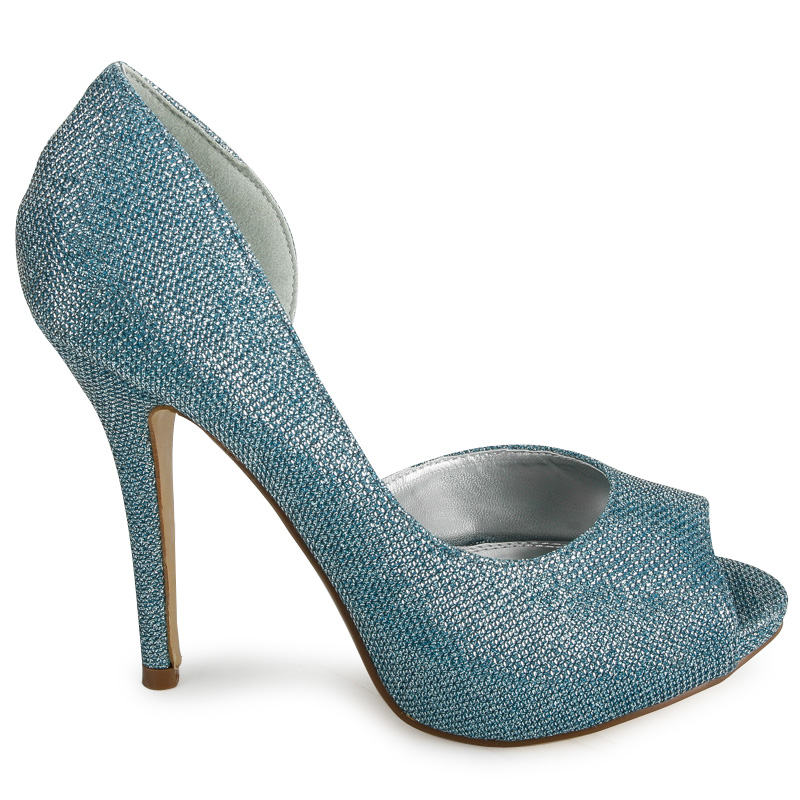 LADIES LIGHT BLUE GLITTER BRIDAL WOMENS PLATFORM PEEP TOED HEELS