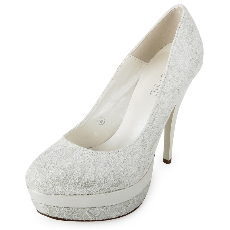 ivory platform stiletto womens evening lace detail