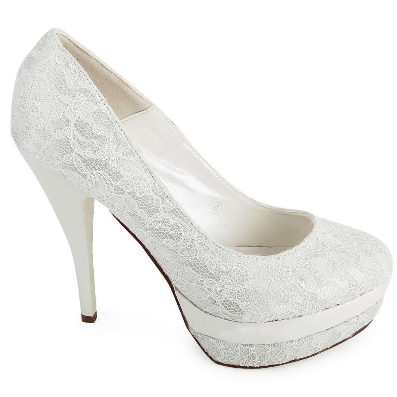 womens ivory wedding stiletto evening lace detail