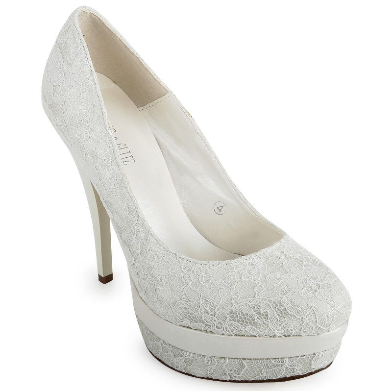 womens ivory stiletto lace detail platform evening