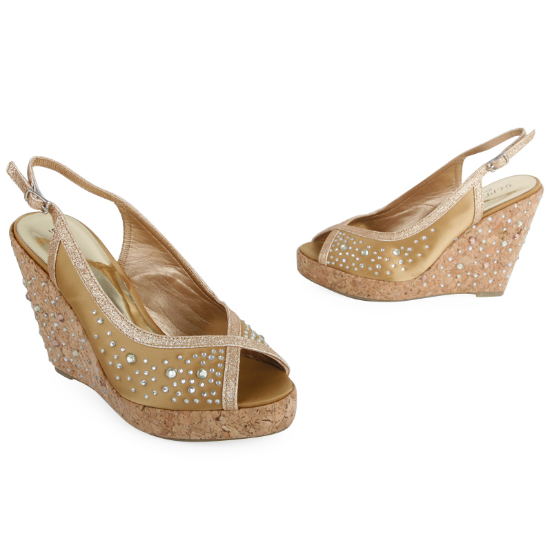 bronze peep toe platform womens diamante wedge