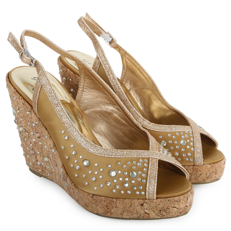 bronze bridal peepttoe womens diamante cork wedge