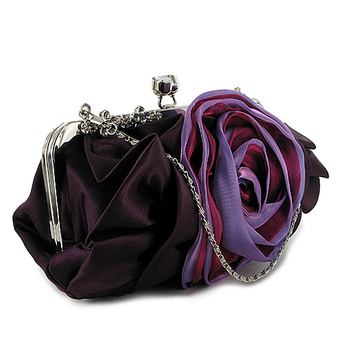 Details about Y68 LADIES PURPLE GATHERED ROSE WEDDING CLUTCH BAG