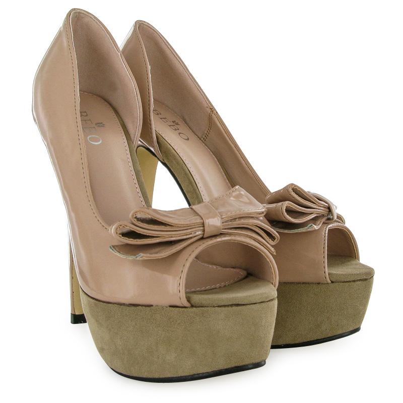 patent bow womens pink platform heels peeptoe