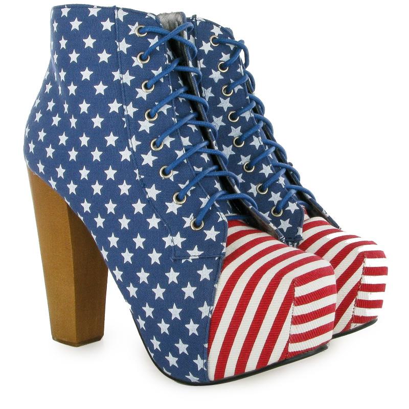 Hidden Platform Womens American Flag Shoes Wooden Block Heel Ladies