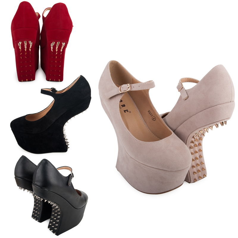 NEW WOMENS MARY JANE LADIES SPIKEY STUDDED HEEL-LESS WEDGE PARTY SHOES SIZE 3-8