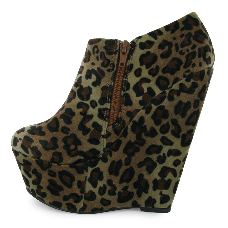 womens leopard print faux suede wedge heels ankle