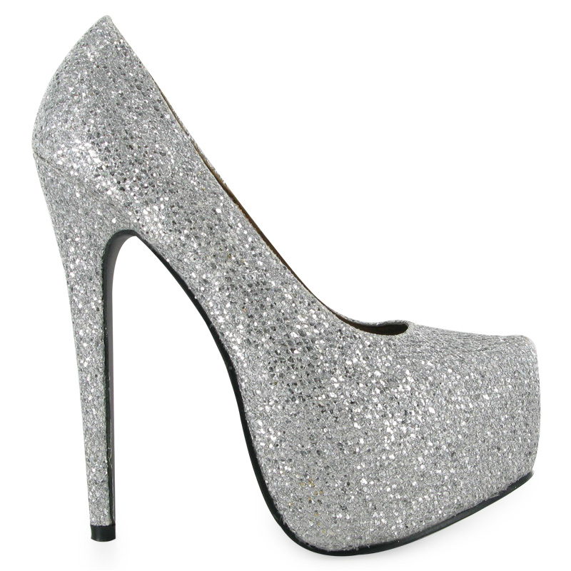 ladies high heel silver glitter shiny womens platform stiletto shoes size 3 8 uk ebay. Black Bedroom Furniture Sets. Home Design Ideas