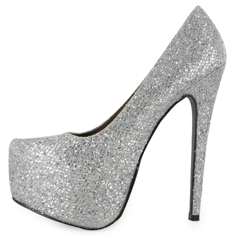 Silver Shiny High Heels | Tsaa Heel