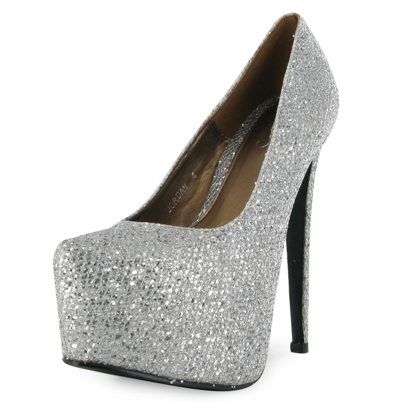 a274ceb3fff NEW WOMENS SILVER GLITTER LADIES VERY HIGH HEEL PLATFORM PARTY .