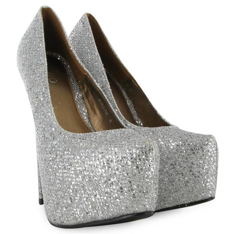 womens glitter silver shiny high heel platform