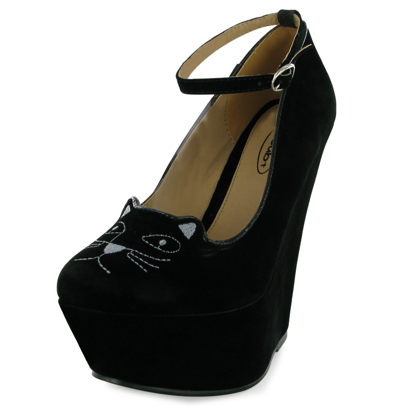 NEW LADIES BLACK CAT FACE ANKLE STRAP WEDGE WOMENS PLATFORM HEEL SHOES SIZE 3-8
