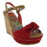 00U New Ladies Red Suede Rocketdog Wedge Strap Sandal