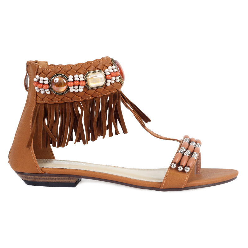 Brown Womens Beaded Tasselled Flat T-bar Summer Sandals Shoes