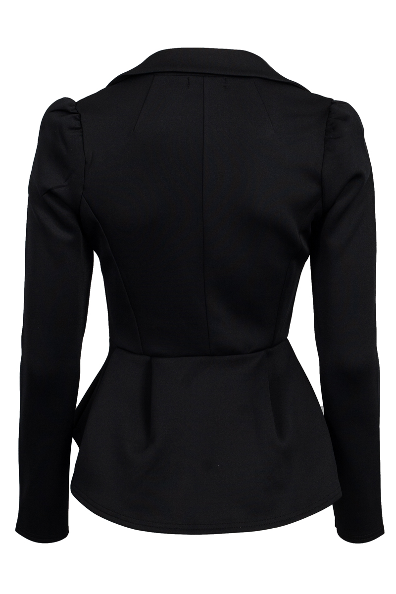 WOMENS CASUAL BLACK BLAZER LADIES NEW PEPLUM DETAIL FITTED DAY JACKET SIZE 8-14