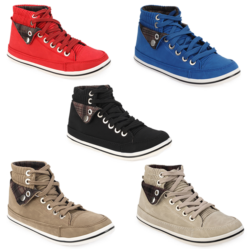 51F NEW WOMENS FAUX LEATHER LACE UP HI-TOP PUMPS TRAINERS LADIES SHOES SIZE 3-8
