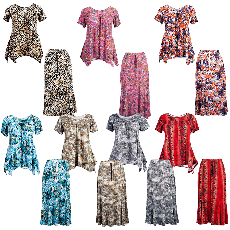 New Ladies Casual Printed Womens Stretch Tunic Top Maxi Skirt Plus Size Suit UK