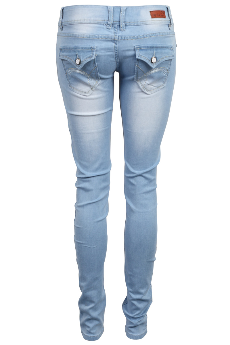 NEW WOMENS SLIM FIT DENIM LADIES SKINNY DOUBLE BUTTON LIGHT BLUE JEANS SIZE 6-14