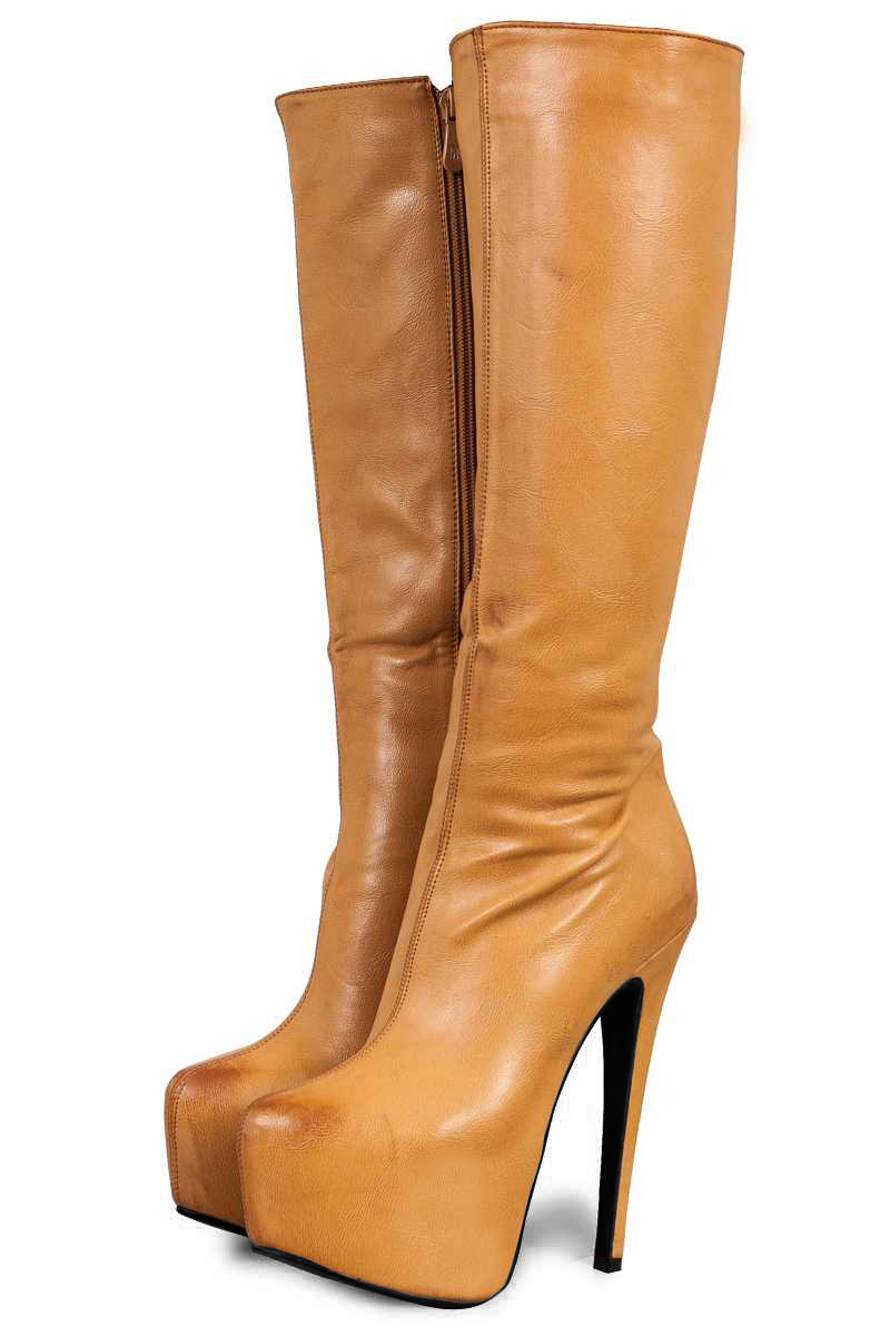 WOMENS CONCEALED PLATFORM KNEE HIGH BOOTS LADIES TAN BROWN CASUAL SHOES SIZE 3-8