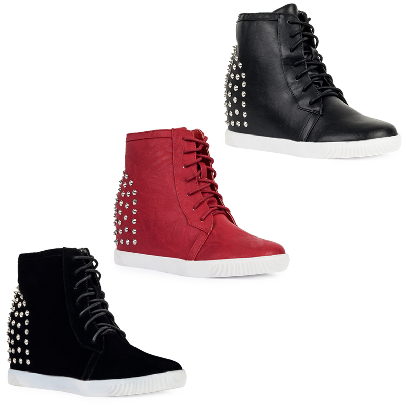 55I NEW WOMENS HI TOP LADIES STUDDED CASUAL WEDGE HEEL TRAINERS ...