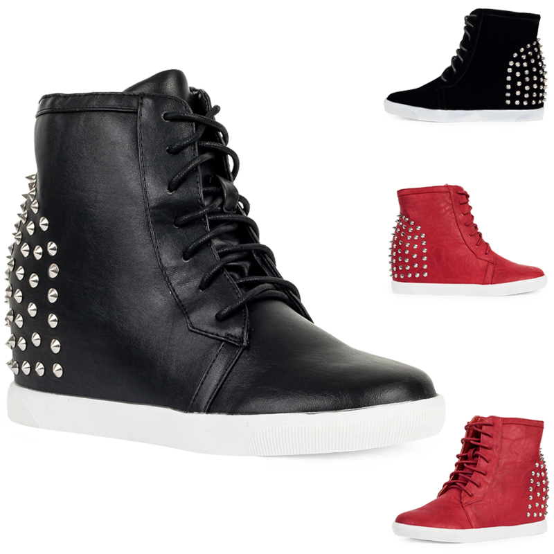 New Ladies Hi Top Womens Spikey Studded Casual Wedge Heel Trainers ...
