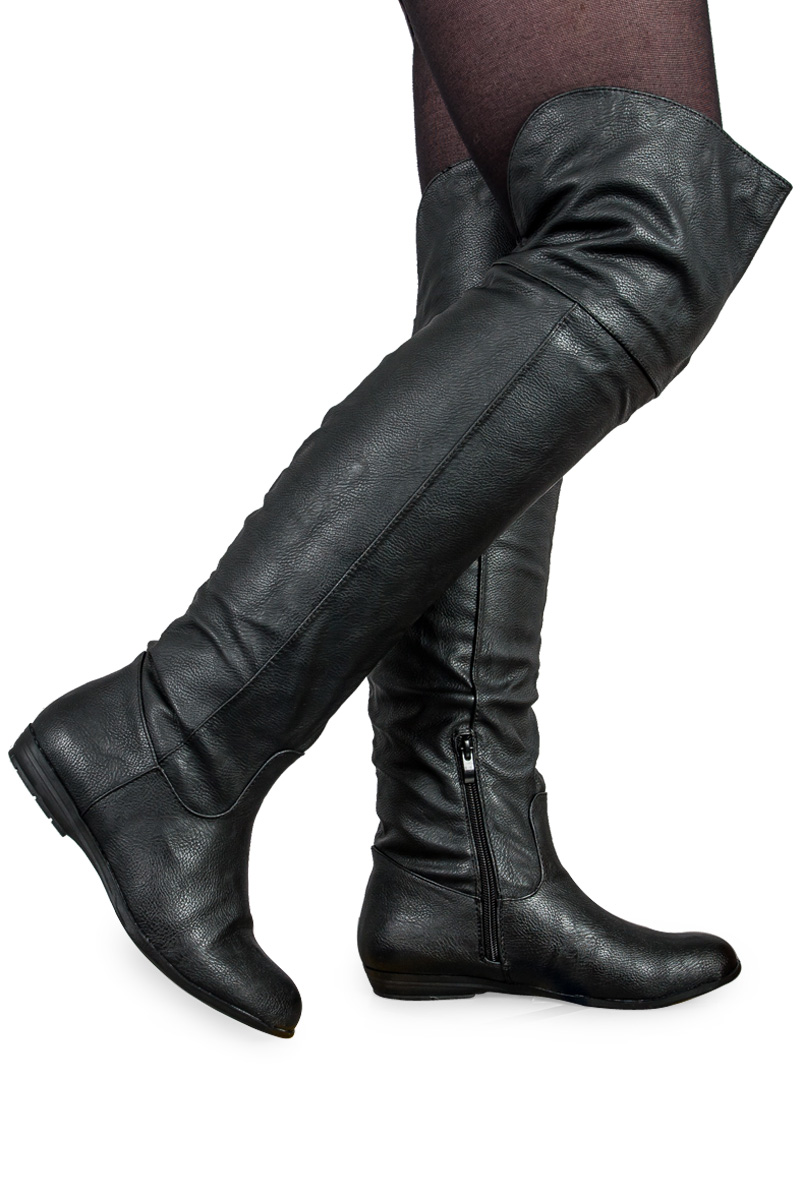 56B NEW WOMENS KNEE HIGH CASUAL FLAT LADIES ZIP UP LONG RIDING ...