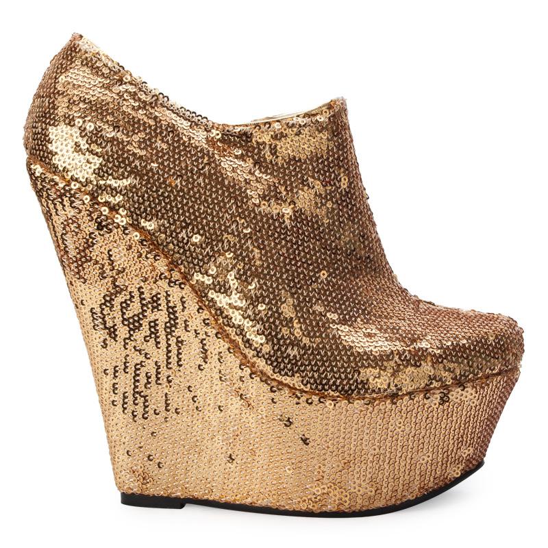 gold shimmer sequin platform wedge heel ankle