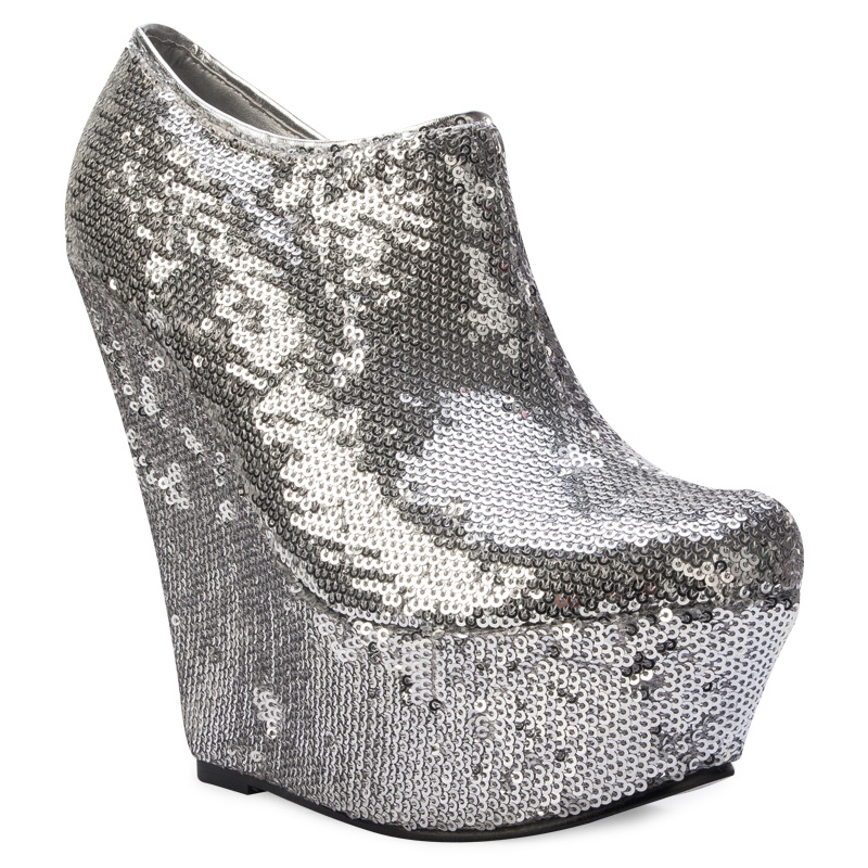 silver sequined wedge heel shimmer womens ankle