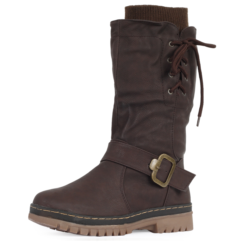 new womens brown mid calf grip sole fleece lining