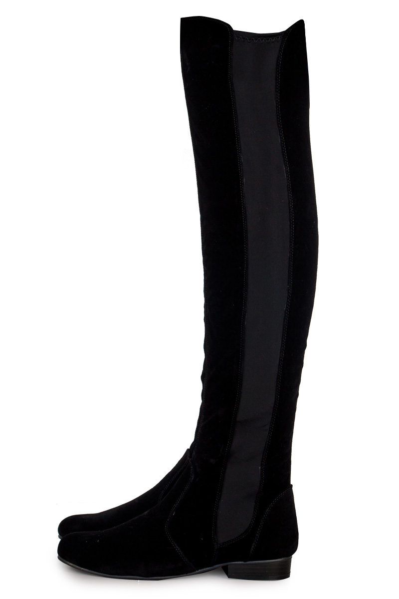 WOMENS LONG OVER THE KNEE LADIES FLAT PULL ON BLACK FAUX SUEDE ...