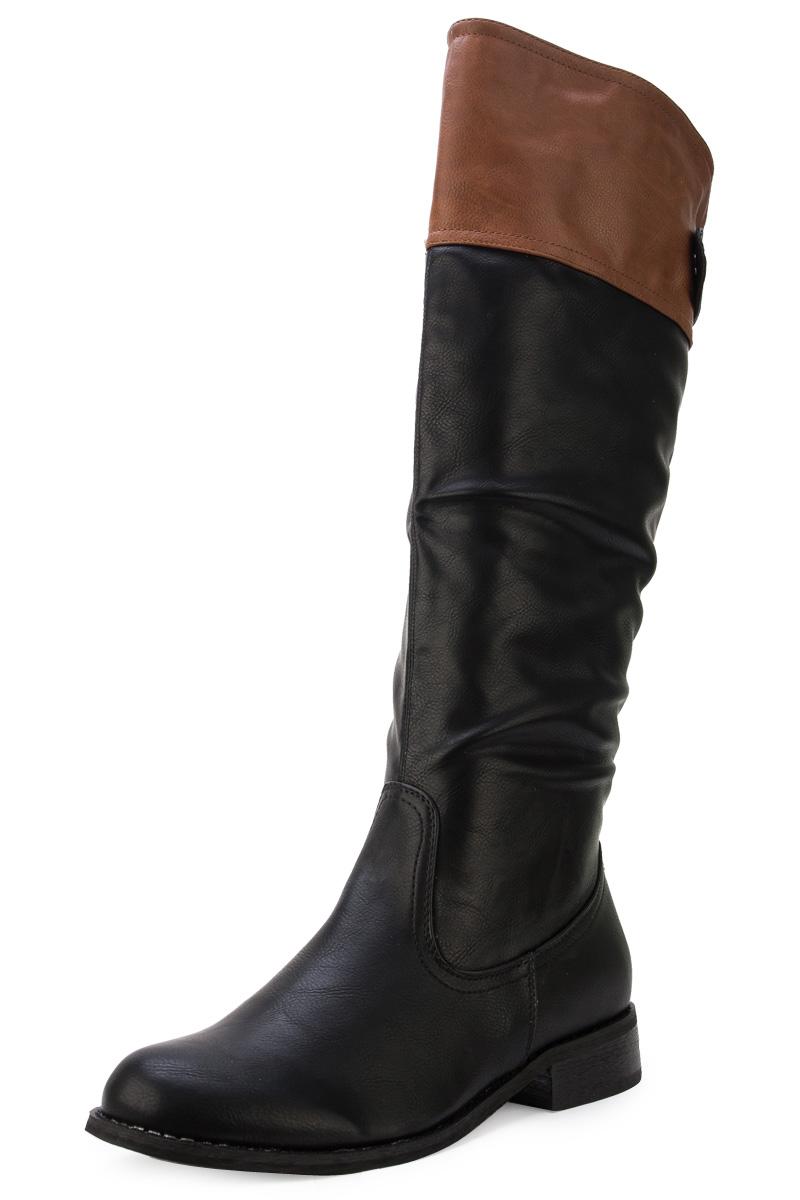 new womens black brown casual zip up knee high