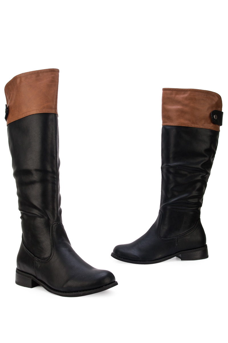 Amazing  Boots  Womens Black Leather Style Biker Buckle Flat Knee Boots