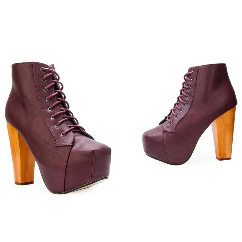 new burgundy purple womens high heel platform ankle