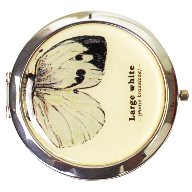 LADIES GIFT REPUBLIC BUTTERFLY CUTE ROUND VINTAGE STYLE MAKE UP COMPACT MIRROR