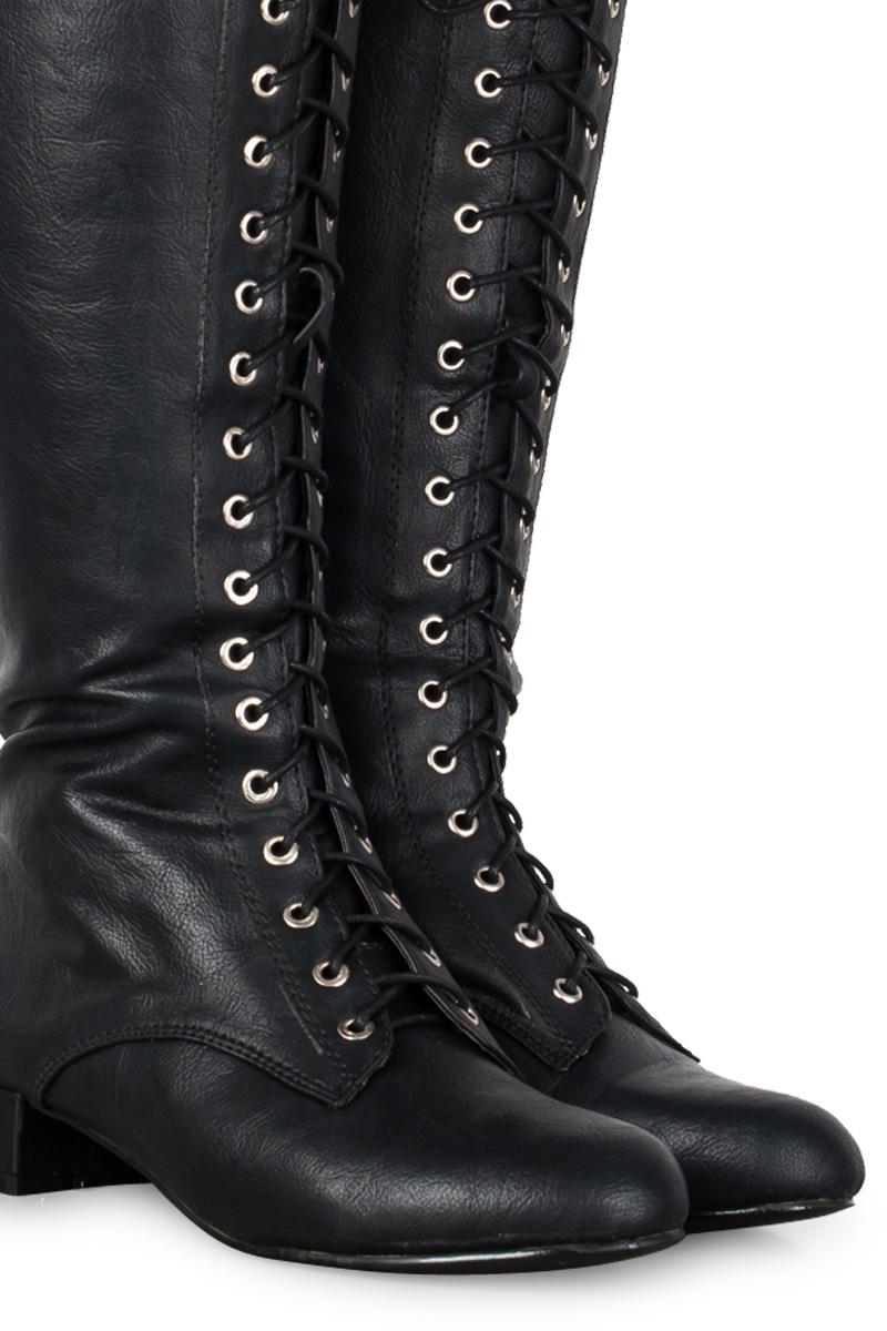 new womens black low heel zip up knee high